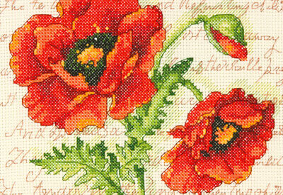 """""""Poppy Pair Mini Counted Cross Stitch Kit-7""""""""X5"""""""" 14 Count"""""""