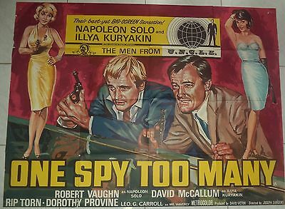 One Spy Too Many 1966 Rare Uk Quad Poster Man From Uncle Great Artwork