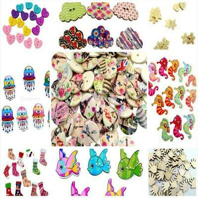 50/100Pcs Mixed Bulk 2 Holes Heart Animal Wooden Sewing Buttons Scrapbooking DIY