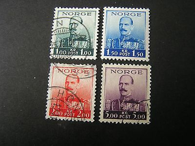 Norway, Scott # 177-180(4), Complete Set 1937-38 King Haakon Vii Issue Used