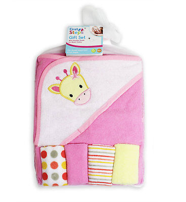 Baby Towel Hooded Baby Towel Animal with 4 Wash Cloths First Steps