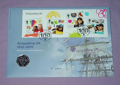 2010 ROYAL MINT GIRL GUIDES 50p COIN STAMP COVER