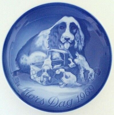 BING & GRONDAHL 1969 Mother's Day Plate B&G Cocker Spaniel & Puppies