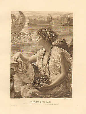 Rowing, Racing, A Roman Boat Race, by Poynter, Vintage 1890 Antique Art Print