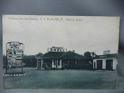 Postcard Midway Service Station US Route No 9 Natick Mass Shell Gas Station