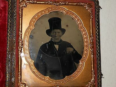 Old Man in  Top Hat 1/6 Plate Ambrotype - Full Case