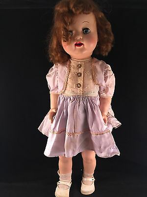 Vintage Hard Plastic Curly Haired Walking Doll