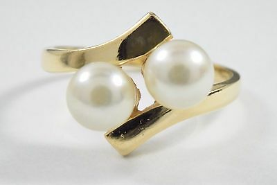 Women's Flawless Dual 6.0 mm Natural Pearl Cocktail Ring in 14k Solid Gold