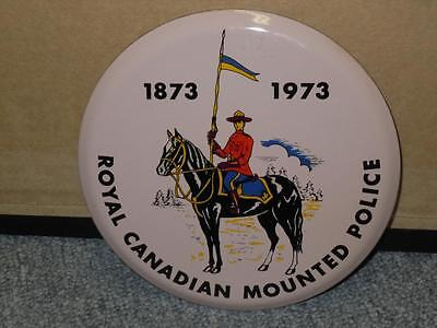 Round Royal Canadian Mounted Police RCMP Station Sign 1873-1973 Porcelain 6in.