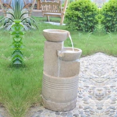 Sandstone 2 Bowl Solar Powered Water Feature Garden Fountain