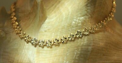 "5.5mm Hawaiian Solid 14k Yellow Gold DC Matted Plumeria Flower Anklet 10"" #1H"