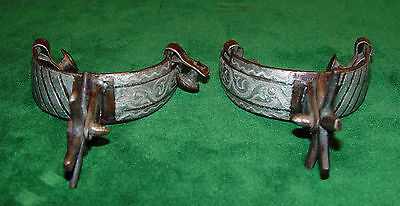 "Vintage Double Mounted Silver Mexican ""Chihuahua"" Spurs"