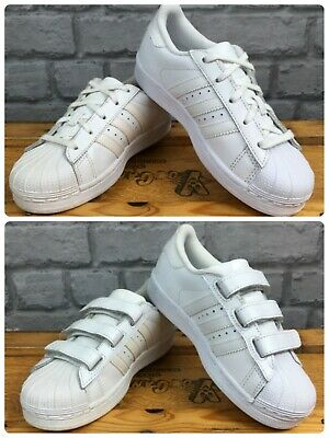 new styles b2297 d72c1 ADIDAS SUPERSTAR CHILDRENS White Originals Leather Shelltoe Trainers Uk 10-1