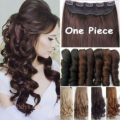 Long Women 100% New Real Half Full Head Clip in Hair Extensions Extension Brown
