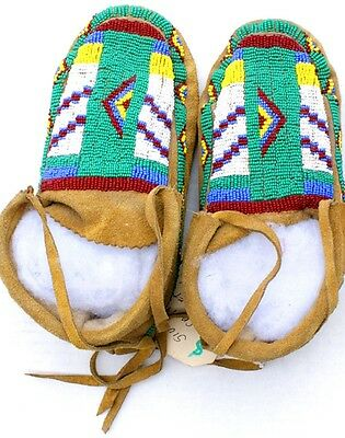 """Vintage Antique 9"""" Native American Blackfoot Indian Beaded Moccasins"""