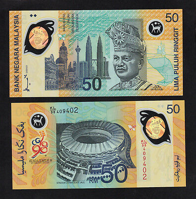 Malaysia 50 Ringgit (1998) P45 POLYMER XVI Commonwealth Games - UNC