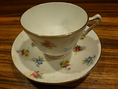Vintage English tea cup / saucer Crown Staffordshire, marked [Y7-W6-A8]