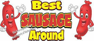 "Best Sausage Around Decal 14"" Hot Dog Cart Concession Food Truck Vinyl Sticker"