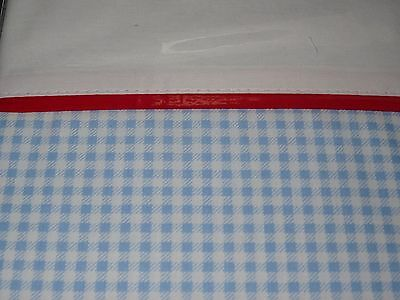 BLUE/WHITE Gingham COT/TODDLER BED SHEET SET & COT VALANCE BNIP rrp $65.00