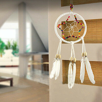 Handmade Dream Catcher Feathers Colorful Stone Wall Hanging Decor Car Ornament