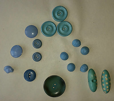 Vintage 1960s Plastic Buttons & Toggles. Mixture of 16 Blues. Clothing/ Craft