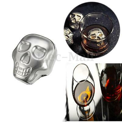 Skull Stainless Steel Whiskey Wine Cooler Ice Cube Stones Glacier