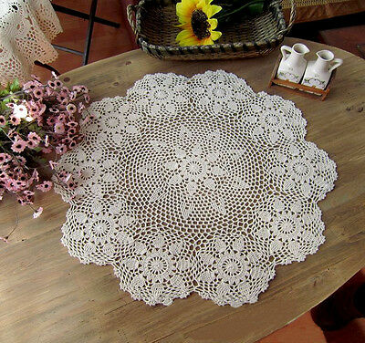 70CM Round Handmade Crochet Lace Floral Doily Lampshade Cover TableCloth Cotton