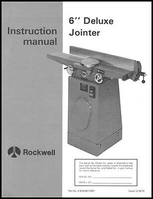 Rockwell 37-220 6 Inch Deluxe Jointer Manual 1979