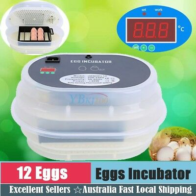 12 Eggs Incubator Digital LED Poultry Chicken Duck Goose Hatcher Fully Automatic