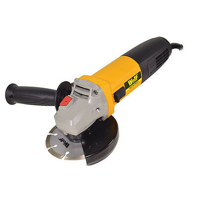 "Wolf Electric Angle Grinder 115mm 4.5"" 850W Cutting Grinding 240v"