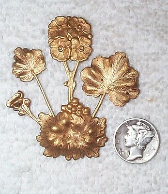 Vintage Spectacular Leaf And Flowers Open Cut Brass Stampings 5 Pieces