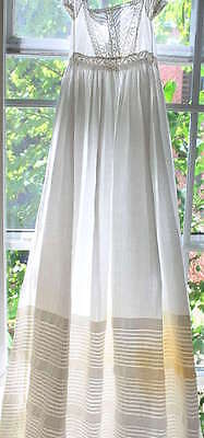 Victorian Child's Embriodered Full Length Long Christening Gown W/pleating