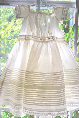 1860 Fine White Cotton Summer Dress Pleated And Embroidered