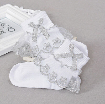 New 1 Pair of White Silver Frilly Christening Socks 4-6 Years