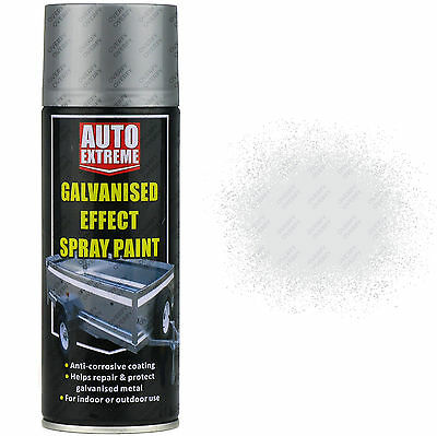 1 x 400ml Galvanised Metallic Silver Gloss Spray Paint Aerosol Can Auto Extreme