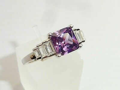 Ladies Art Deco Design 925 Silver White Sapphire and 1.5 Carat Tanzanite  Ring