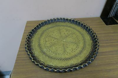 "Vintage Hammered Etched Islamic Arabic Moroccan Brass Copper 13"" Tray Morocco"