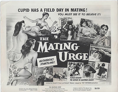 "24x36 /""The Mating Urge/"" 1959 Vintage Adult Move Poster"