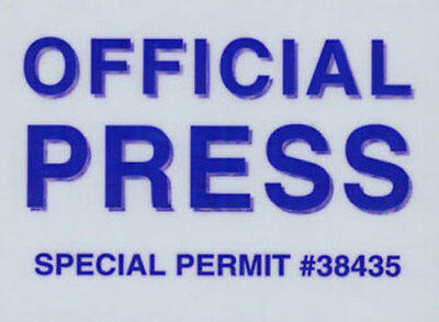 Official Press Windshield Static Cling Pass