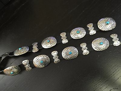 Navajo 1970's Concho Belt in .925 Sterling Silver Hand Stamped Turquoise