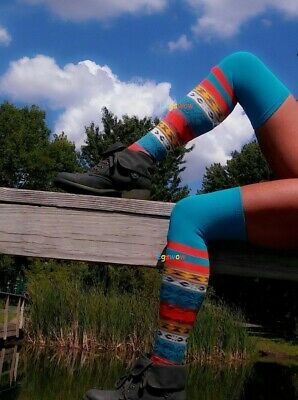 049ff794343 Crazy Hot Over The Knee Boot Socks OTK Vibrant Colors Spring Summer Thigh  High