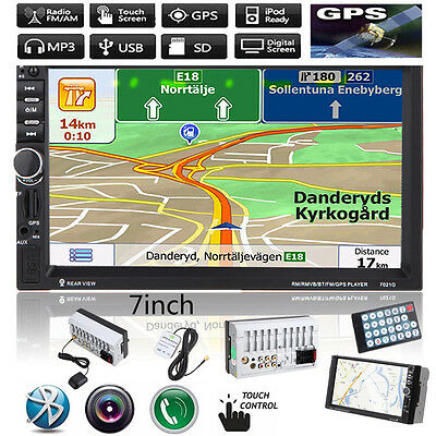 "GPS 7"" 2 Din HD Bluetooth Touch Car MP3 MP5 Player USB/SD/FM/TV Stereo Radio"