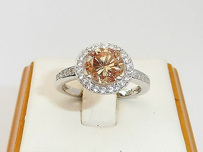 Ladies Hallmarked 925 Solid Silver 1 CT Champagne Topaz and White Sapphire Ring