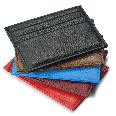 Men Genuine Real Leather Thin Credit Card Holder Business ID Case Mini Wallet