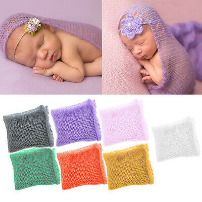 Baby Newborn Boy Girl Crochet Knit Mohair Wrap Cloth Photography Photo Props
