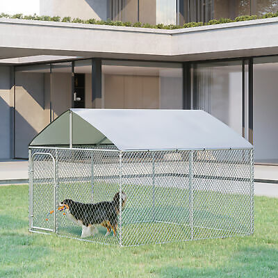 PawHut 10ft Large Pet Kennel Playpen Dog House Exercise Cage w/ Canopy Roof