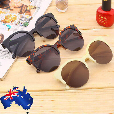 Retro Black Lens Vintage Men Women Round Frame Sunglasses Glasses Eyewear KB