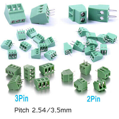 2Pin/3 Pin PCB Terminal Block Mount Screw Connector 300V 10A Pitch 2.54mm /3.5mm