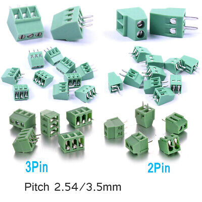 PCB Screw Terminal Block Connector Panel Mount Pitch 2.54mm / 3.5mm 2 Pin/ 3Pin