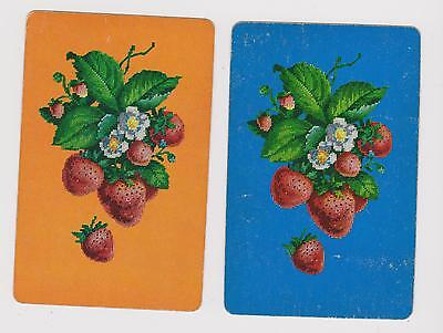Petit Point Strawberries  X 2  Only Single Vintage Playing/Swapcards.. ...